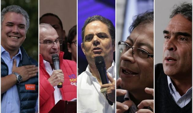 Candidatos presidenciales Iván Duque, Humberto de la Calle, Germán Vargas Lleras, Gustavo Petro y Sergio Fajardo / Colprensa