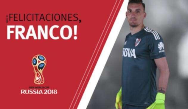 La imagen que compartió River Plate al conocer el llamado a Franco Armani