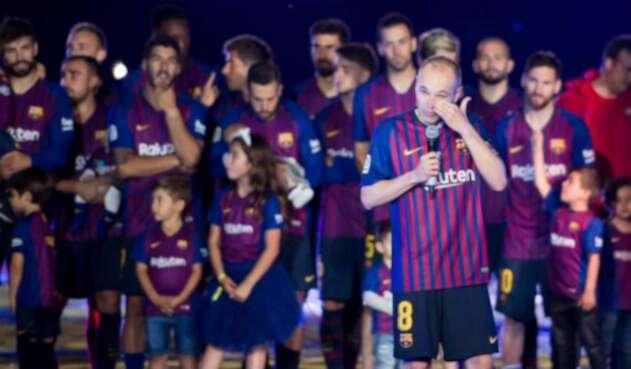 Andrés Iniesta en su despedida en el Camp Nou.