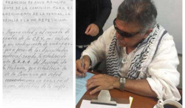 Jesús Santrich y su carta al padre Francisco de Roux / Colprensa y santrichlibre.org