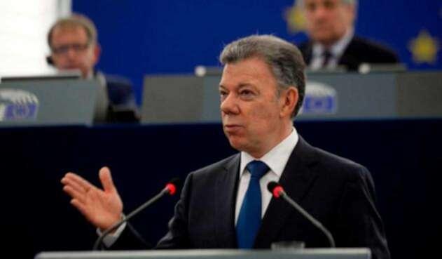 Juan Manuel Santos ante el Parlamento Europeo