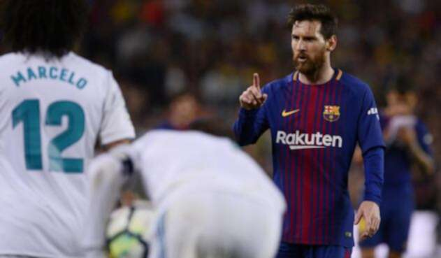 Messi en un partido contra el Real Madrid