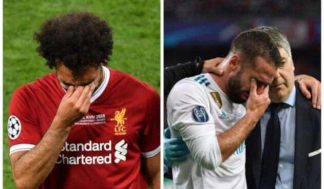Mohamed Salah y Dani Carvajal llorando por su mala fortuna en la final de Champions / AFP
