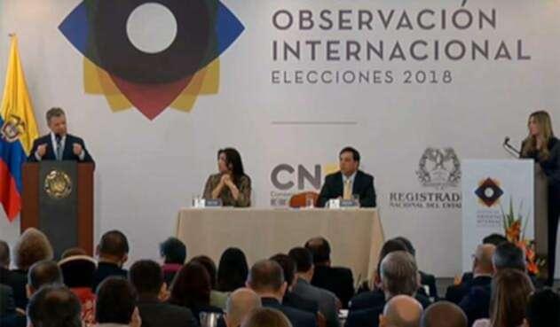 Presidente Santos en la instalación Misión de Observación Internacional