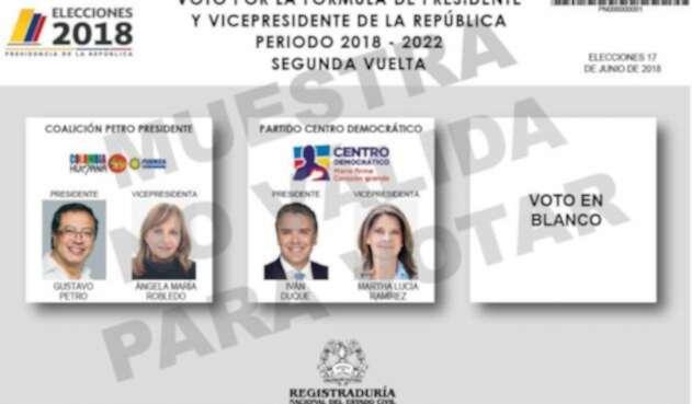 Tarjetón electoral para la segunda vuelta / Registraduría