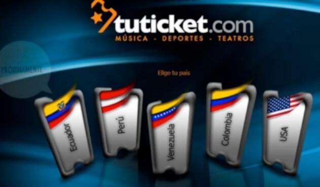 Imagen del sitio de Tuticket.com