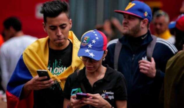Venezolanos residentes en Bogotá, el 20 de mayo de 2018