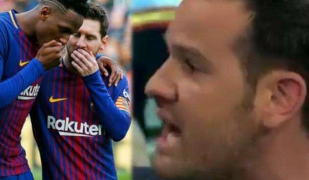 Yerry Mina con Messi / El periodista Quim Domènech Puigbó