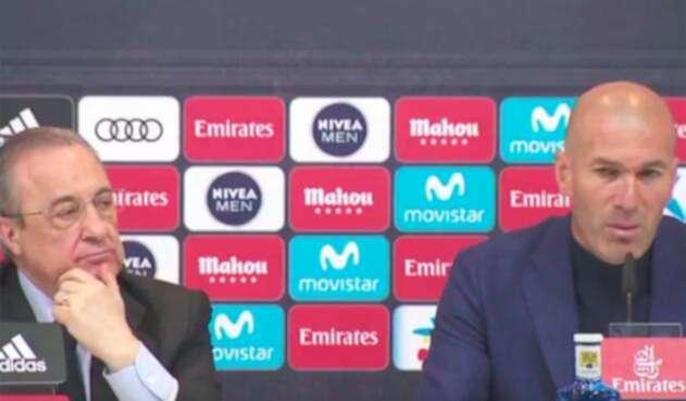 Florentino Pérez y Zinedine Zidane en la rueda de prensa