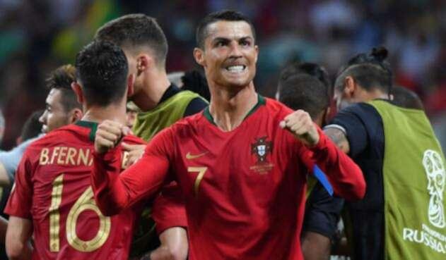 Cristiano Ronaldo celebra el empate de Portugal 3-3 con España