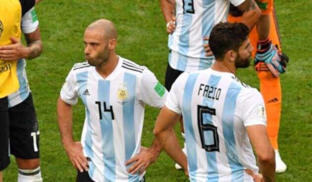 Javier Mascherano luego de la eliminación de Argentina ante Francia