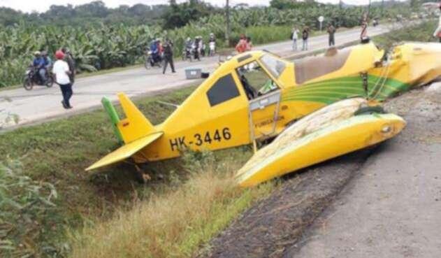El avión accidentado