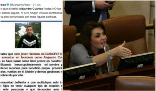 La foto de Alejandro Cuartas publicada en Twitter por la congresista Margarita Restrepo (a la derecha)