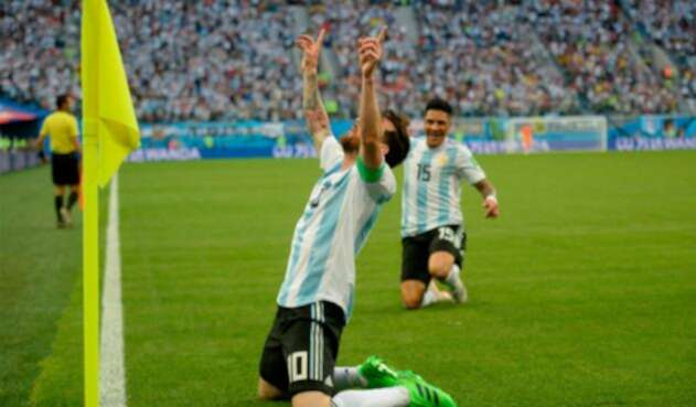 Messi celebra su primer gol en Rusia 2018, el número 100 de este Mundial