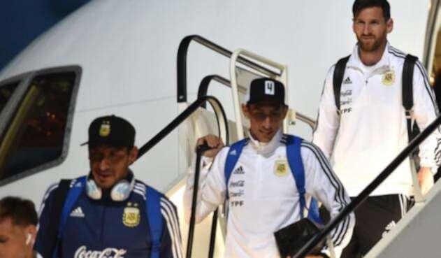 La Selección de Argentina llegando al aeropuerto de Zhukovsky, en Rusia, el 9 de junio de 2018