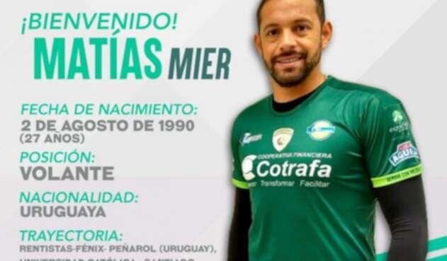 Matías Mier, nuevo jugador de La Equidad