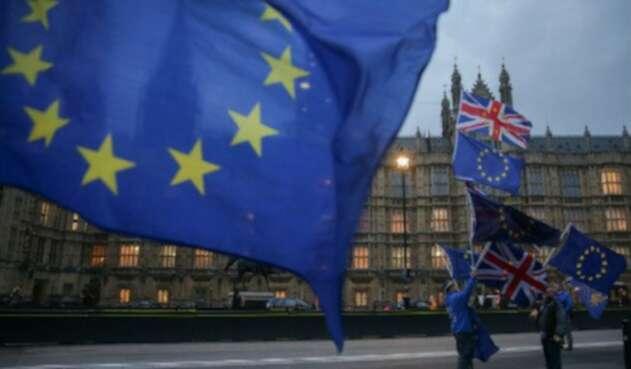 Bandera Unión Europea en Londres (brexit)