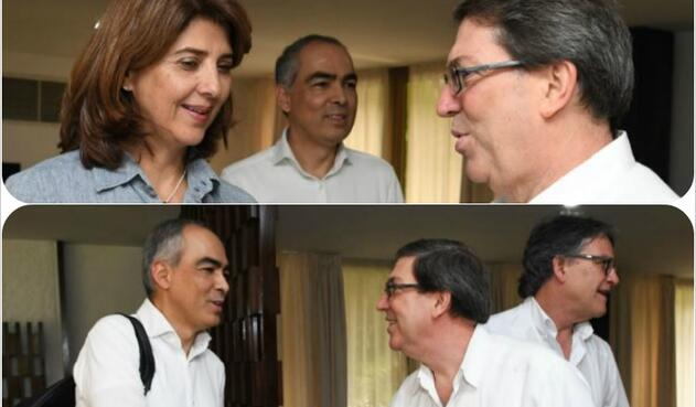 Canciller María Ángela Holguín y el alto comisionado Rodrigo Rivera en La Habana, Cuba