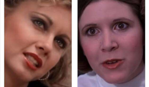 Carrie Fisher y 'Sandy' de Grease