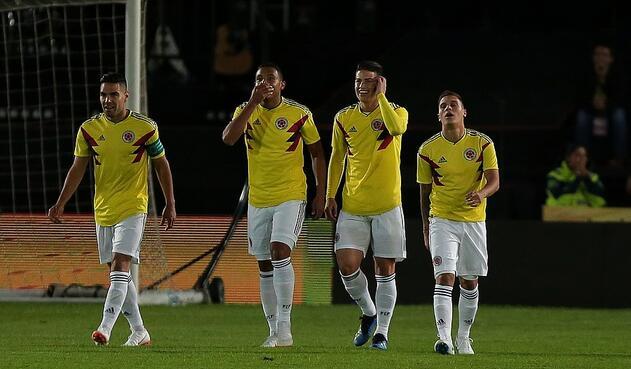 Falcao García, Luis Muriel, James Rodríguez y Juan Fernando Quintero, jugadores de la Selección Colombia