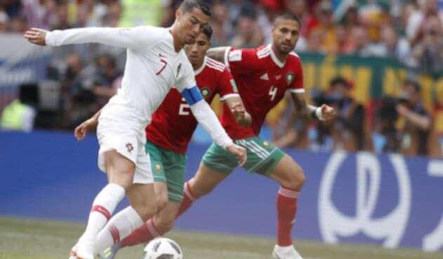 Cristiano Ronaldo en el juego ante Marruecos