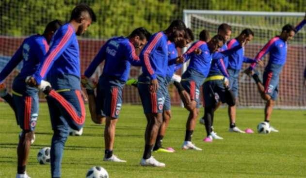 La Selección Colombia en un entrenamiento antes del partido ante Japón