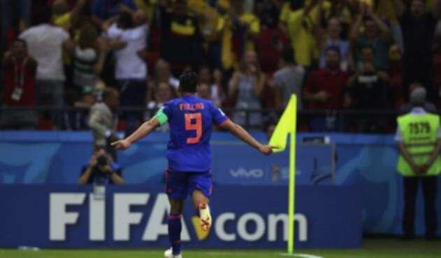 Falcao celebrando su primer gol en una Copa del Mundo