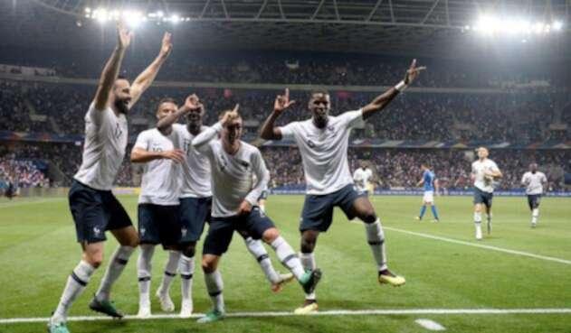 Antoine Griezmann celebrando su gol durante el partido amistoso de fútbol entre Francia e Italia en el Allianz Riviera Stadium en Niza