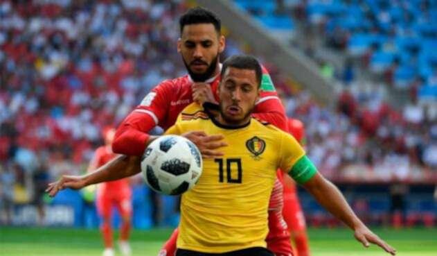Eden Hazard en el partido ante Túnez