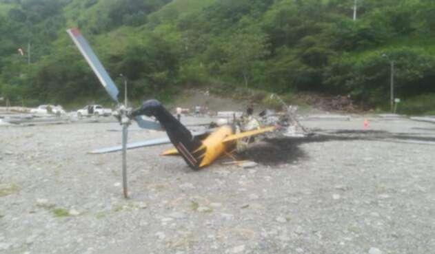 Helicóptero incinerado
