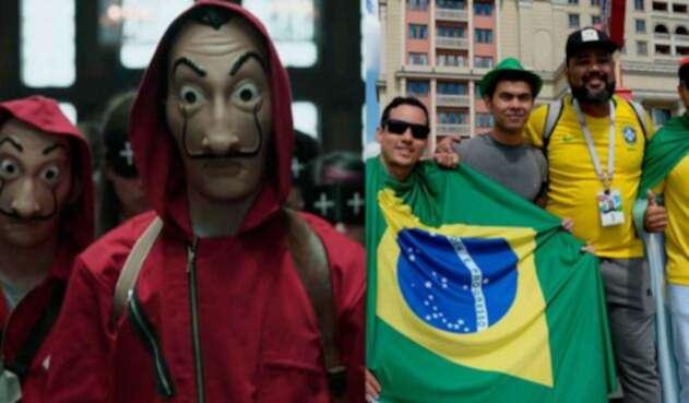 Hinchas Brasil y la 'casa de papel'