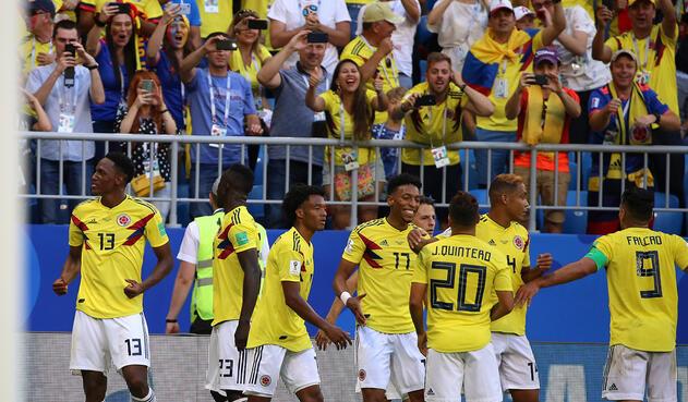 Selección Colombia celebra el gol ante Senegal