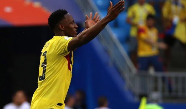 Yerry Mina festeja su gol ante Senegal