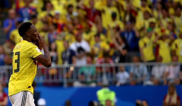 Yerry Mina celebra su anotación ante Senegal