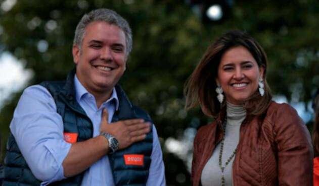 Iván Duque y María Juliana Ruiz el 20 de mayo de 2018 en Bogotá
