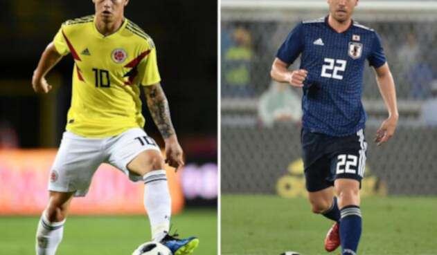 James Rodríguez y Maya Yoshida, jugadores de Colombia y Japón