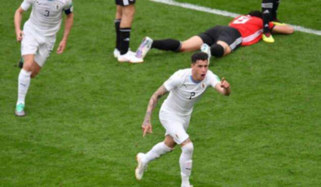 José María Giménez celebrando su gol ante Egipto