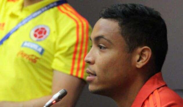 Luis Muriel durante la rueda de prensa de Colombia