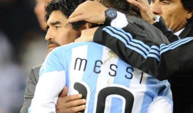 Maradona dirigió a Messi en el Mundial de Sudáfrica