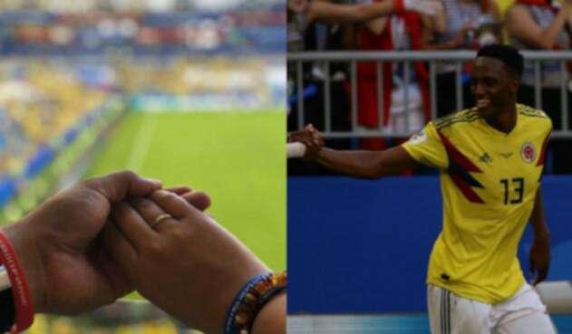 Así fue la pedida de matrimonio en medio del Colombia vs Senegal