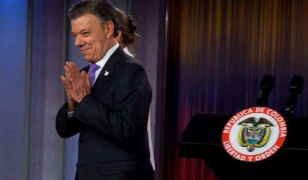 El presidente Juan Manuel Santos el 7 de octubre de 2016 tras ganar el Premio Nobel de la Paz