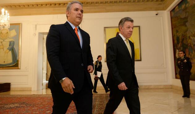 Iván Duque y Juan Manuel Santos iniciaron el empalme