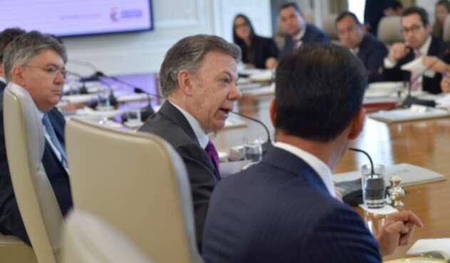 Presidente Santos y su consejo de ministros realizado hoy en Casa de Nariño.