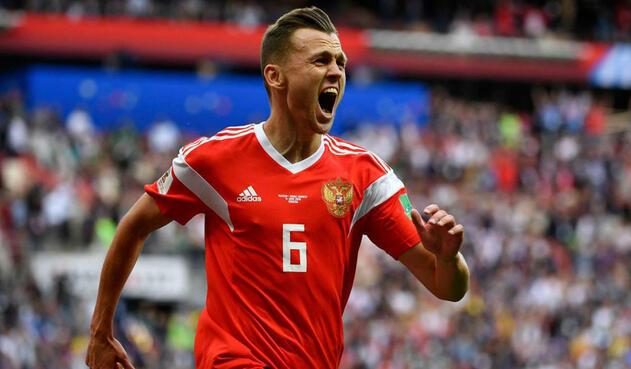 Denis Cheryshev, jugador de Rusia, celebrando un gol en el primer partido del Mundial