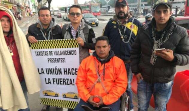 El grupo de taxistas en huelga