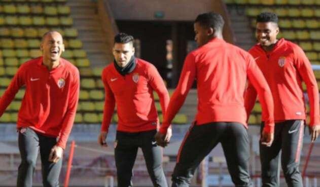 Falcao y Thomas Lemar en un entrenamiento del Mónaco