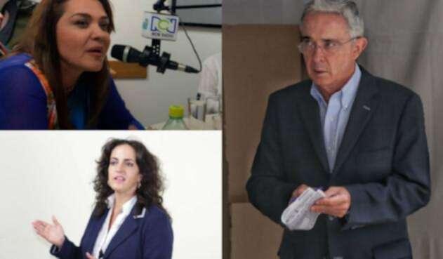 Álvaro Uribe con Margarita Restrepo y María Fernanda Cabal