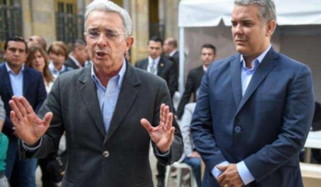 El expresidente Álvaro Uribe y el candidato Iván Duque