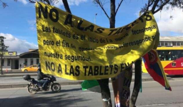 Los taxistas llevan varias semanas protestando por la implementación de tabletas inteligentes.