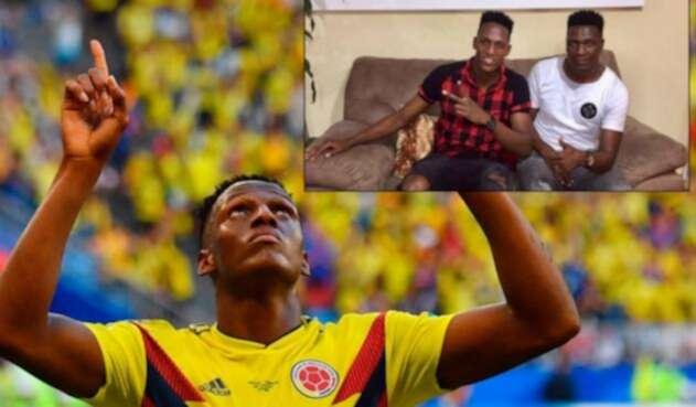 Yerry Mina celebrando su gol ante Senegal / En la imagen de la derecha está junto a su padre Eulises Mina